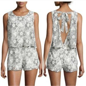 J.O.A gray lace tie back bow shorts romper